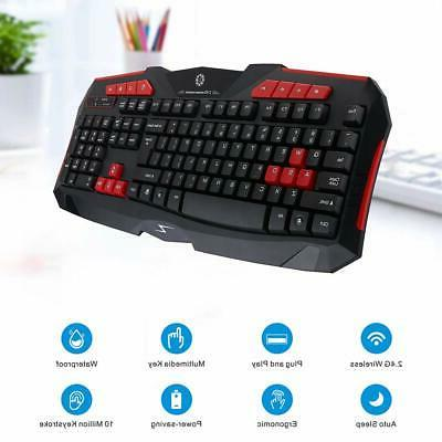Wireless Gaming Keyboard&Mouse Combo 2.4G Waterproof Silent LED