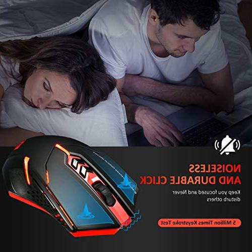 VicTsing Gaming Mouse with Unique Breathing Backlit, Side 2400 DPI, Ergonomic Grips, - Red