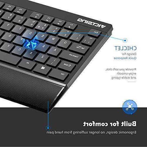 VicTsing and Palm Rest, Entertainment and Encrypted Wireless Connection, for Desktop Laptop Black
