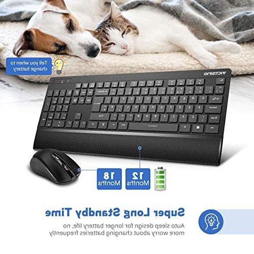 VicTsing Wireless and Mouse Palm Entertainment Keyboard and 2.4GHz Wireless Desktop Black