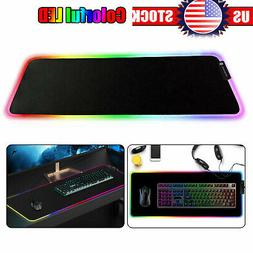 Large Extended RGB Colorful LED Lighting Keyboard Mat Gaming