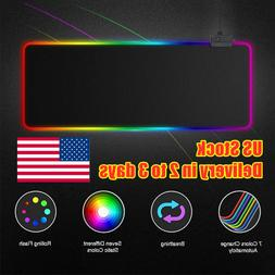 Large Extended RGB LED Lighting Gaming Keyboard Mouse Pad Ma