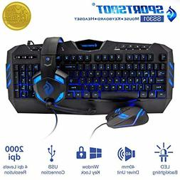 LED Backlight Gaming Keyboard Mouse And Headset Combo Set He