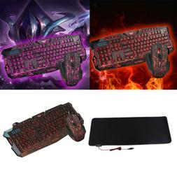 MagiDeal LED Backlit Gaming Keyboard Mouse and RGB Large Mou