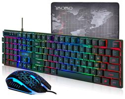 CHONCHOW LED Backlit Wired Gaming Keyboard and Mouse Mousepa