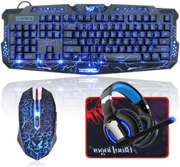 BlueFinger LED Gaming Keyboard Mouse Headset Combo,USB Wired