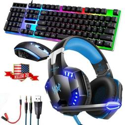 LED Lighting Computer Gaming Keyboard Mouse + Headphones Hea