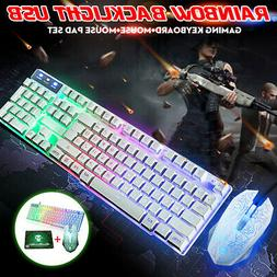 LED RGB Backlit Gaming Keyboard and Mouse and Pad Rainbow Me