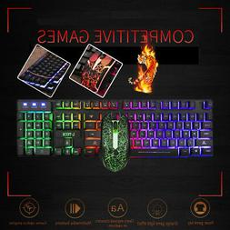 Luminous Wired Gaming Keyboard And Mouse Set Anti-skid Rolle
