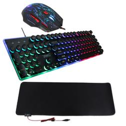 MagiDeal Stylish RGB Backlit Gaming Keyboard Mouse and LED L