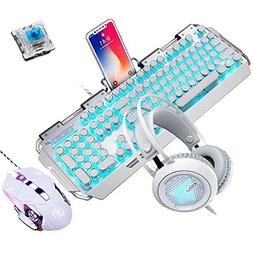 Metal Bottom Mouse Guanwen Metal Keyboard Mouse Set Game Mechanical Feel Floating Button Waterproof USB Port Wired Keyboard Silver White RGB Backlight