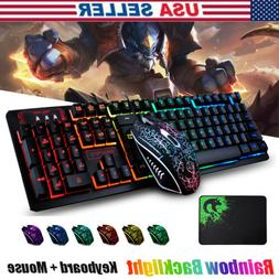 Mechanical Wired Gaming Keyboard and Mouse Set Colorful Back