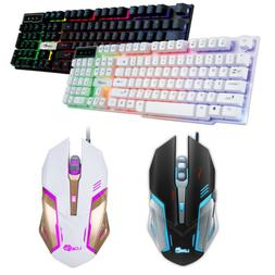 Mini Gaming Mouse Colorful Crack LED USB Wired PC Rainbow Ga