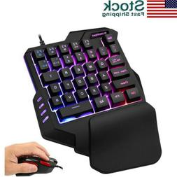 Mini One Hand Gaming Keyboard Single Hand Game Keypad RGB Ba