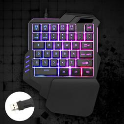 Mini One-Handed Gaming Keyboard RGB Backlit LED USB Wired Ga