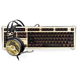Optical Gaming Keyboard & Headset Bundle in Gold - Light St