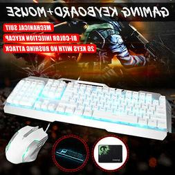 PC Gaming Keyboard and Mouse and Pad Set Mechanical Feel Led