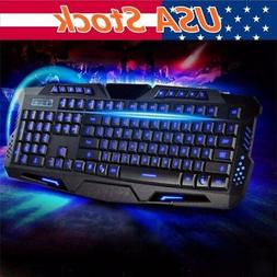 Pro Gaming Wired Keyboard Mouse Combo 3 Color LED Backlight