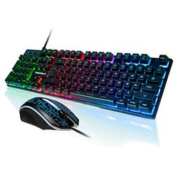 FLAGPOWER Rainbow LED Backlit Mechanical Feeling Gaming Keyb