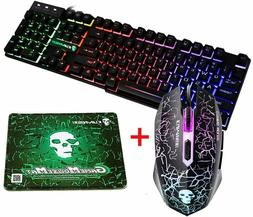 Rainbow Backlit Gaming Keyboard Mouse Combo 2400DPI for PC M