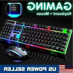 Rainbow Gaming Keyboard and Mouse Combo LED RGB Backlit Mech