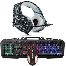 Rainbow Gaming Keyboard Mouse Stereo Headset Headphone for P
