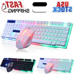 Rainbow LED Gaming Keyboard and Mouse Combo Set Color Changi