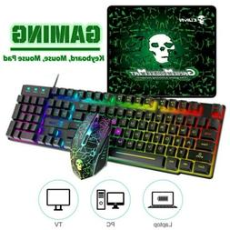 Rainbow LED Gaming Keyboard&Mouse&Pad Set Multi-Colored Chan