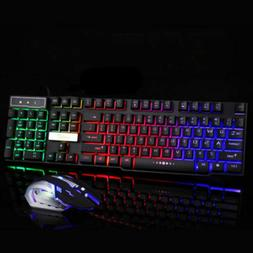 Rainbow LED Wired USB Gaming Keyboard Mouse Set For PC Lapto