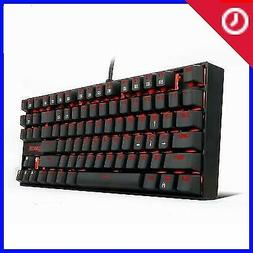 RED LED Backlit Mechanical Gaming Keyboard Small Compact 87