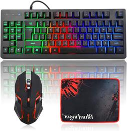 RGB 87 Keys Gaming Keyboard and Backlit Mouse Combo,BlueFing