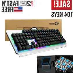 RGB Backlit Mechanical Wired Gaming Keyboard USB Ergonomic w