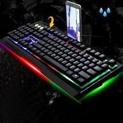 Colorful Backlight Gaming Keyboard & Mouse Combo 2400DPI Mic