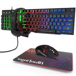 BlueFinger RGB Gaming Keyboard and Backlit Mouse and Headset