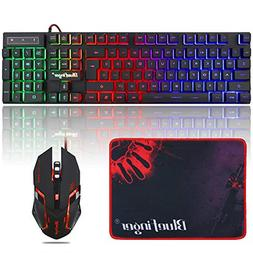 RGB Gaming Keyboard and Backlit Mouse Combo,BlueFinger USB W