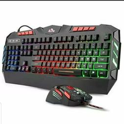 Rii RGB LED Backlight Wired Gaming Keyboard and Mouse Combo,