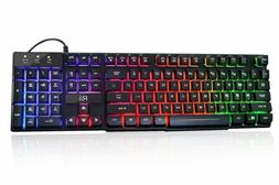 Rii RK100+ Rainbow Backlit Wired Multimedia Gaming Keyboard