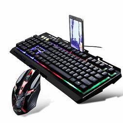 Gaming Multi-Color LED Changing Backlight Keyboard and Mouse
