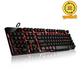 three colors backlit led keyboard for gaming