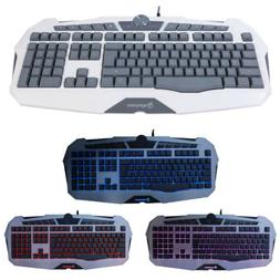 US LED Multimedia Gaming Keyboard USB Wired 3 Color Illumina