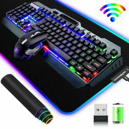 US Rainbow LED Backlit Rechargeable Gaming Keyboard Mouse +