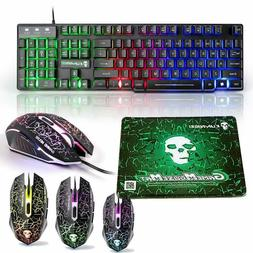 US T6 Black Rainbow Backlit Gaming Keyboard and Mouse for PS