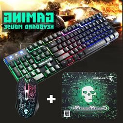 US T6 LED Rainbow Backlight Gaming Keyboard & Mouse & Mouse