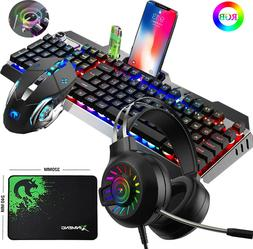 US Wired RGB Backlit Gaming Keyboard Mouse and Mouse Pad Hea