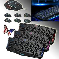 USB LED Backlight Wired Gaming Keyboard Button PC Wired Game