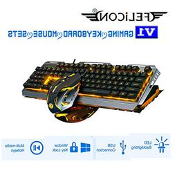 FELICON V1 Gaming Keyboard Mouse Sets Wired Yellow LED Backl