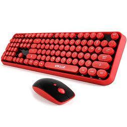 Wireless keyboard and mouse,Cute Wireless Keyboard with Roun