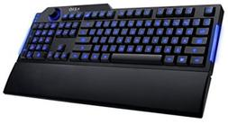 Gaming Keyboard w Blue Backlight Detachable Palm Rest PC Acc