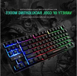 wired gaming keyboard 87 keys mix rgb