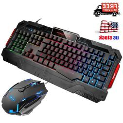 Wired Gaming Mechanical Keyboard Optical Mouse Set Breathing